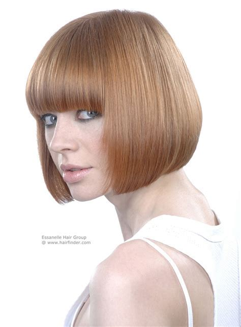 Chin length bob with longer frontal side sections   Side view