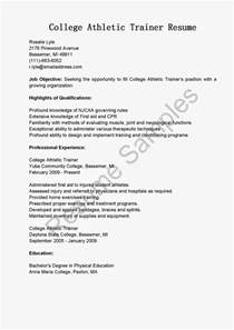 Athletic Trainer Cover Letter Resume Sles College Athletic Trainer Resume Sle