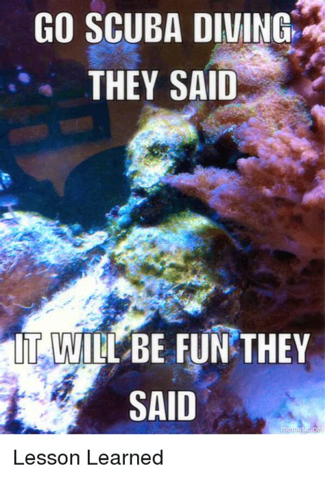 Scuba Diving Meme - go scuba diving they said it will be fun they said lesson learned reddit meme on sizzle