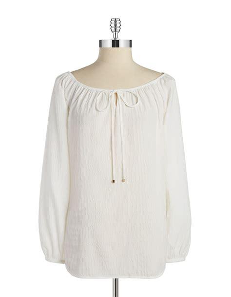 jones york blouses jones york textured peasant blouse in white lyst
