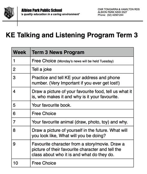 show and tell letter k levelings 868 | KE Term 3 Show and Tell News Letter