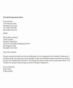 Resignation Letter With Reason Template