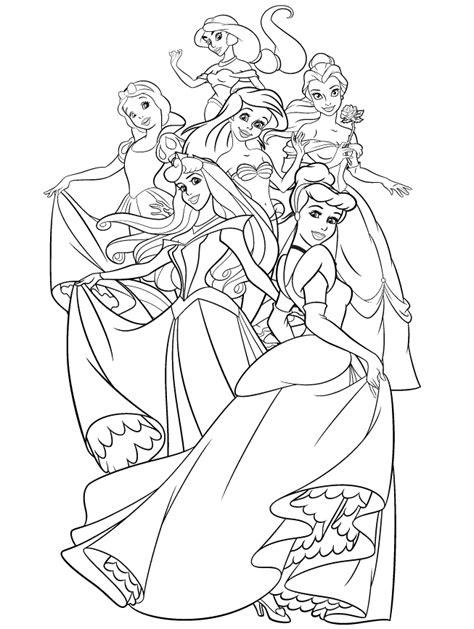 the group of disney princess coloring page jasmine snow