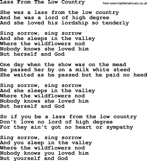 Turn The Lights Low Country by Joan Baez Song Lass From The Low Country Lyrics