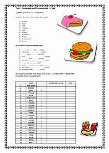 Countable And Uncountable -food Worksheet