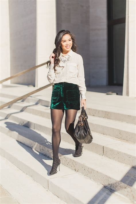 elegant textures velvet shorts silk blouse color chic
