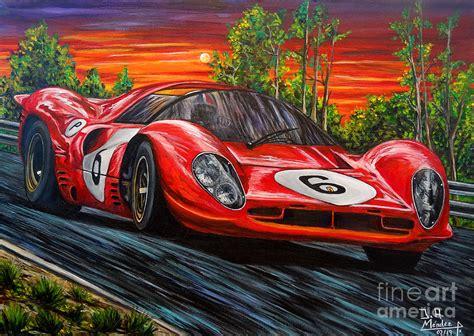 Der gerahmte kunstdruck aus der manufaktur von petrolheads für petrolheads setzt automobile leidenschaft. Ferrari 330 P4 Painting by Jose Mendez