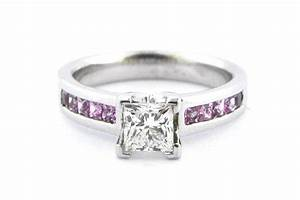 Princess cut diamond ring with pink channel set sapphires for Princess cut pink diamond wedding rings