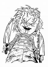 Coloring Chucky Halloween Scary Wanna Adult Adults Hi sketch template