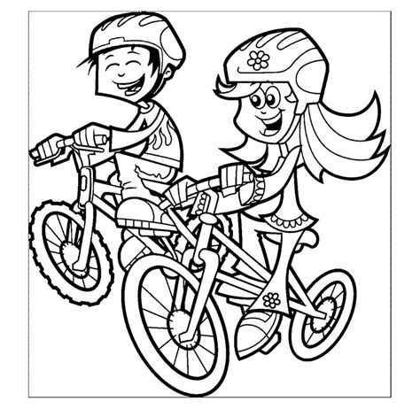 gambar anak bermain sepeda untuk diwarnai