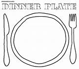 Plate Coloring Dinner Colorings sketch template