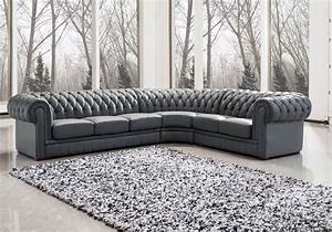 Appealing grey upholstered sectional leather chesterfield for Gray upholstered sectional sofa