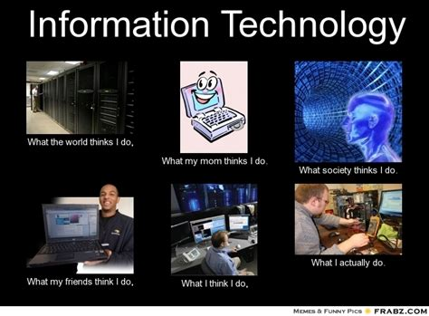 Information Technology Memes - information technology what people think i do what i really do perception vs fact