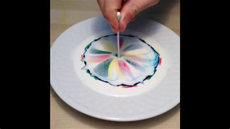 combine milk food coloring  dish