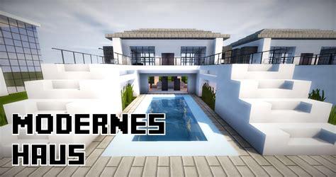 Minecraft Modernes Haus Mit Pool In Der Mitte Bauen 24x20