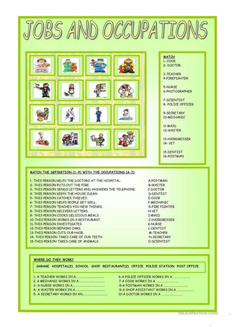 jobs  occupations worksheet  esl printable