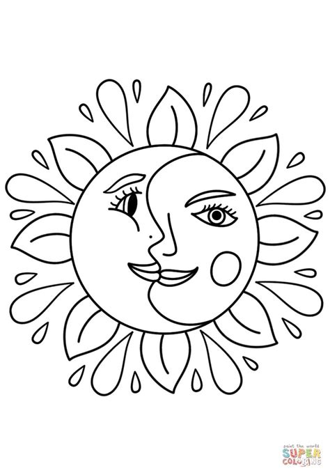 Trippy Sun and Moon coloring page | Free Printable