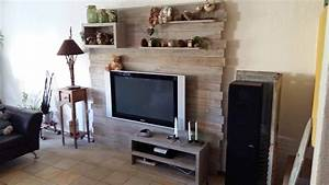 Pallet Entertainment Center Wall Meuble Tv En Palette