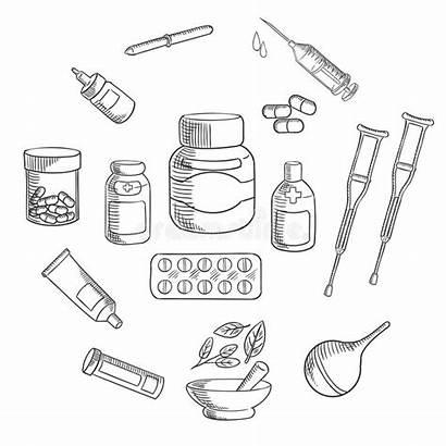 Medicine Pharmacy Sketch Icon Drawing Medication Pills