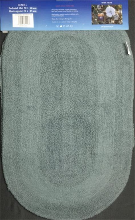 Changingbedrooms.com Teal Grey Racetrack Design 100% Cotton 2 Piece Bath Set Mat & Pedestal