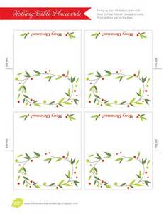 Free Printable Christmas Place Cards Template