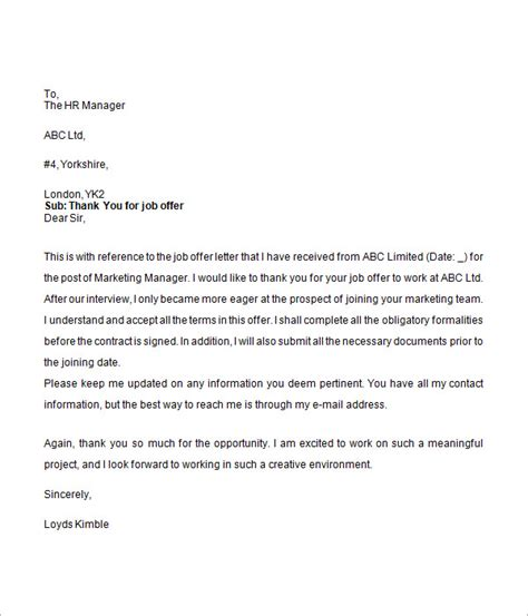Thank You For Accepting My Resume by Offer Letter 9 Free For Word
