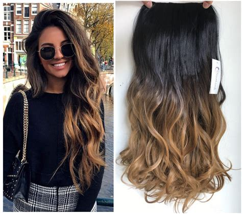 Clip In Dip Dye Ombre Hair Extensions Synthetic Straight
