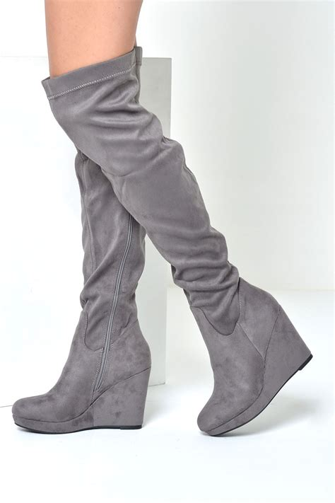 wedge wedding shoes c 39 m loraina wedge the knee boots in grey suede iclothing
