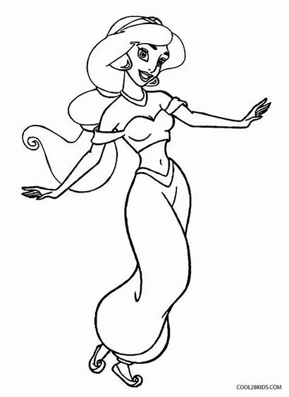 Coloring Jasmine Pages Printable Disney Princess Flash