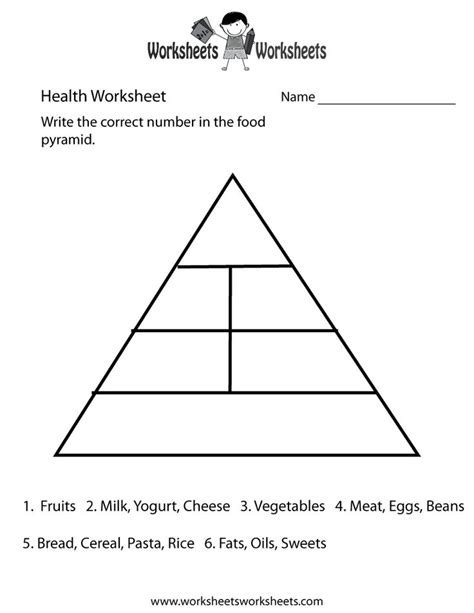Food Pyramid Health Worksheet Printable | Church | Food