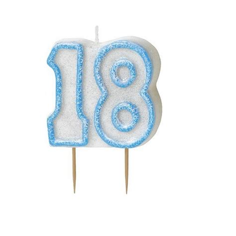 Blue Glitz Number 18 Candle 18th Birthday Cake Candles ...