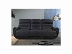 canape 3 places relax cuir noir coutures blanches cosmy With canapé cuir couture apparente