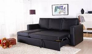 sectional sofa bed with storage best storage design 2017 With black faux leather sectional sofa bed with left facing storage chaise