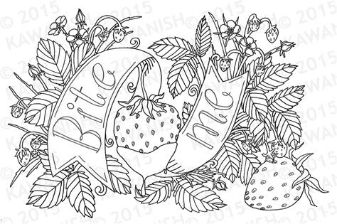 Bite Me Strawberry Adult Coloring Page Wall Art Gift Funny