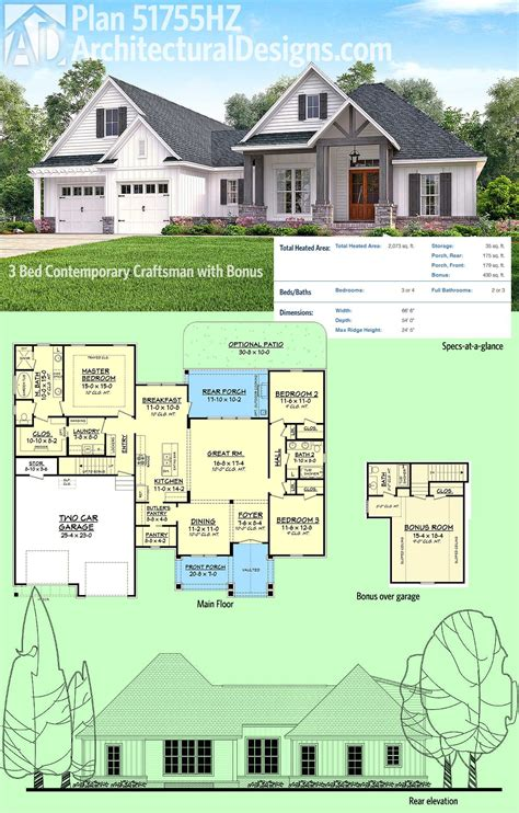 plan hz  bed contemporary craftsman  bonus  garage house plans craftsman