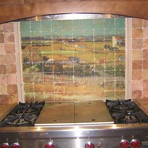 van gogh marble tile mural in rustic kitchen backsplash With kitchen colors with white cabinets with van gogh wall art