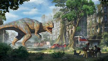 Dinosaur Fiction Rex Tyrannosaurus Ruins Apocalypse Apocalyptic