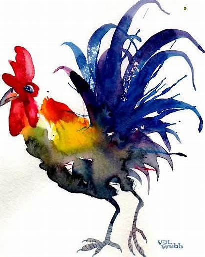 Watercolor Paintings Rooster Easy Painting Animals Valwebb