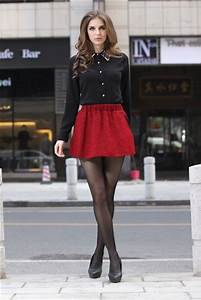 38 cute Christmas outfits for girls | Red skater skirt Collar shirts and Skater skirt