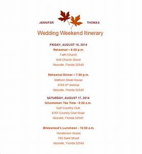 wedding weekend itinerary template 7 free word pdf With wedding day of itinerary template