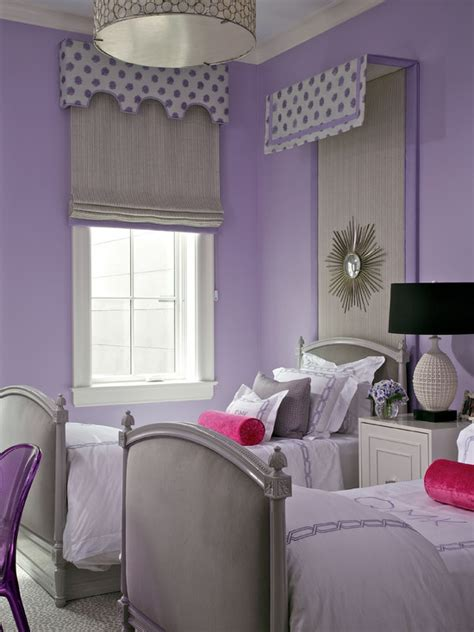 purple  gray girls room contemporary girls room