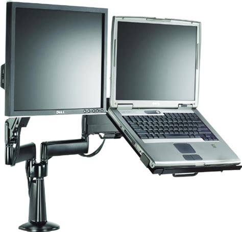 laptop desk mount arm chief kgl220 height adjustable monitor laptop dual arm