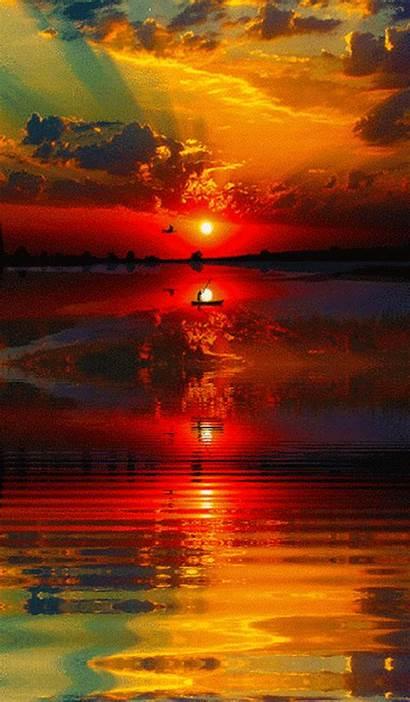 Sunset Animated Sky Landscapes Nature Scenery