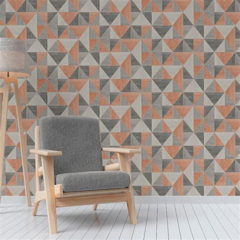 Bedroom Burnt Orange Wallpaper by Decor Apex Wood Grain Geo Burnt Orange Wallpaper