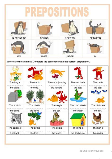 prepositions    animals english esl