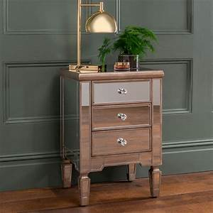 Belfry, Three, Drawer, Mirrored, Bedside, Table