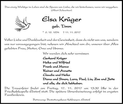 trauerfeier von frau elsa krueger bestattungshaus kohlmeyer