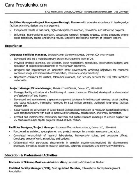Facilities Management Resume Cover Letter by Sle Resume Building Maintenance Supervisor Integrating
