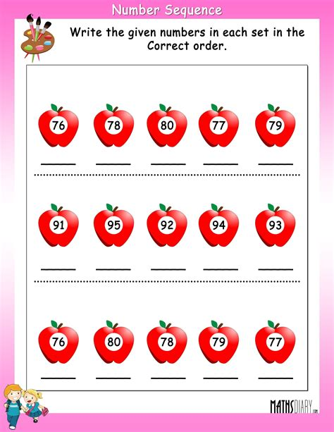 write numbers  correct sequence math worksheets
