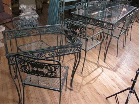 vintage wrought iron patio furniture vintage 1950s wrought iron garden set with two tables and